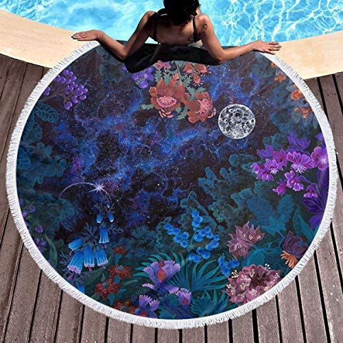 Lfff Night Space Magic Garden Galaxy Beach Throw with Tassels Toallas de Playa Grandes Alfombra de Picnic Alfombra para Adultos y niños 59 Pulgadas