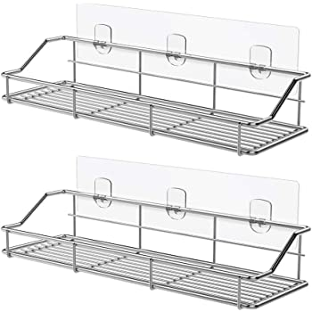 Wall Mounted Non Drilling Thick Clear Storage /& Display Shelvings Vdomus Acrylic Bathroom Shelves Original 2 Pack