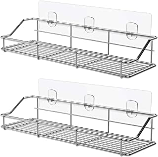 ODesign Adhesive Bathroom Shelf Organizer Shower Caddy Kitchen Spice Rack Wall Mounted No Drilling SUS304 Stainless Steel - 2 Pack