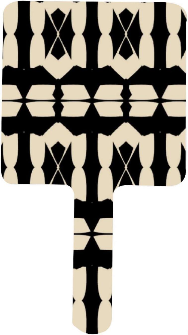Elegant Modern Black Beige Geometric Dealing full price reduction D Pattern Max 82% OFF Handheld Mirror