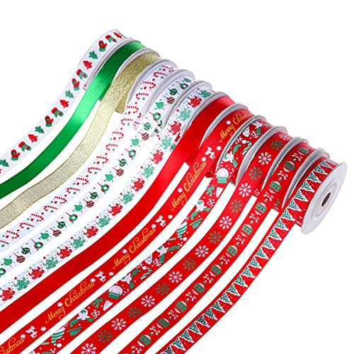 Unomor 100yd Christmas Ribbon for Gifts, 20 Rolls Grosgrain Satin Fabric Ribbon Set for Xmas Gift Wrapping, Hair Bows Making, Craft Sewing