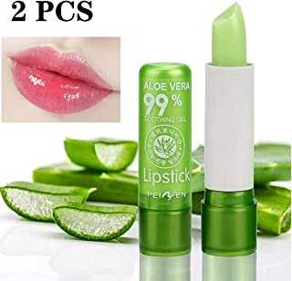 Dragon Honor 2Pack Aloe Vera Lipstick, Long Lasting Nutritious Lip Balm Lips Moisturizer Magic Temperature Color Change Lip Gloss (Green)