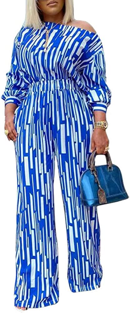 nuoshang Women's 2 Piece Sets Printed Long Sleeve Blouse and High Waist Pant Suits