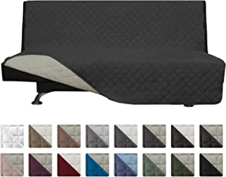 Easy-Going Futon Sofa Slipcover Reversible Sofa Cover Armless Futon Cover Armless Futon Cover Furniture Protector Couch Cover Water Resistant Pets Kids Children Dog Cat (Futon, Darkgray/Beige)