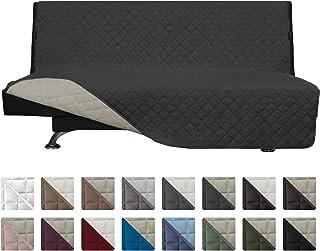 Easy-Going Futon Sofa Slipcover Reversible Sofa Cover Armless Futon Cover Armless Futon Cover Furniture Protector Couch Cover Water Resistant PetsKidsChildrenDogCat(Futon,Darkgray/Beige)