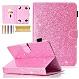Cookk Bling Glitter Universal 9.5-10.5 Inch Tablet Case for iPad 4 3 2 1, iPad 5th/6th Gen, Galaxy Tab 3 10.1/ Tab 4 10.1/ Tab S3 9.7/ Tab E 9.6, Case for RCA 10 Viking Pro, MediaPad T3 10, Pink