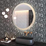 CO-Z 28'' Dimmable Round LED Bathroom Mirror, Plug-in Modern Lighted Wall Mounted Mirror with Lights&Dimmer, Contemporary Fogless Light Up Backlit Touch Vanity Cosmetic Bathroom Mirror Over Sink