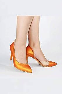 Turuncu Yanı Açık Şeffaf Stiletto Topuklu Kadın Ayakkabı - Lotus