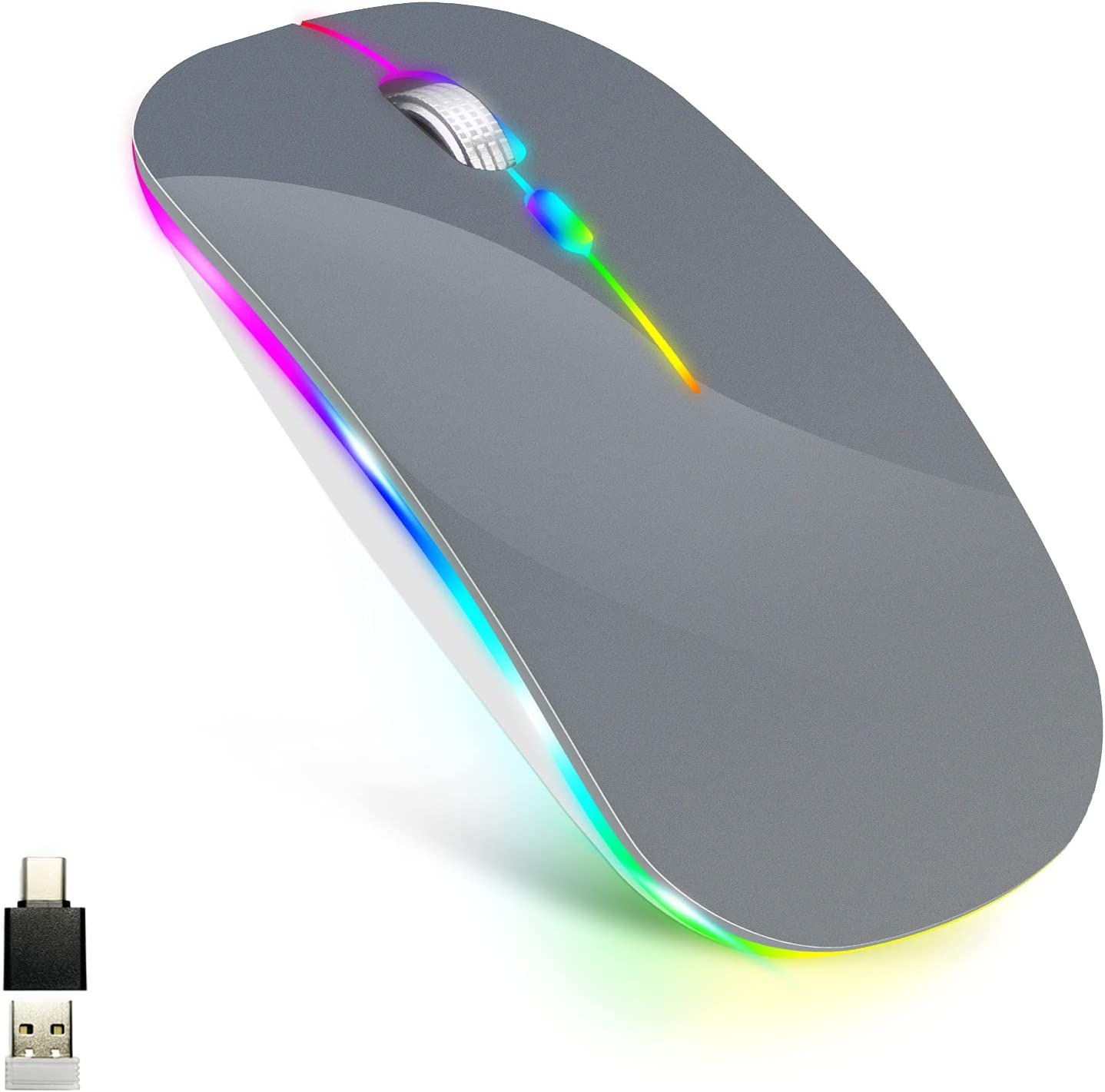 LED Wireless Mouse for MacBook air/MacBook pro/Laptops/Windows/Mac,Rechargeable Slim Silent Mouse 2.4G USB/Type-c Receiver,Rechargeable Wireless Mouse for MacBook/air/pro/mac/pc(Grey)