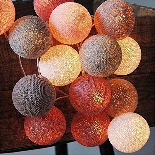 2.2 m 20 LED Boule Coton Guirlande Lumineuse à Piles pour la Fête de Noël d'Intérieur Mariage Vacances Célébration Festival Décoration, Vin rouge