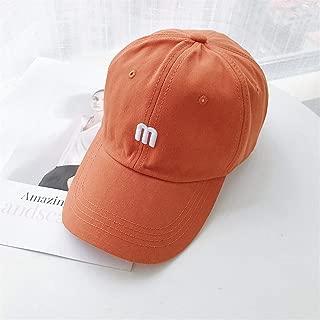 ZiWen Lu Letter M hat Korea Spring and Summer Baseball Cap Sun hat Female Korean Tidal Curved Brim Cap Male Lovers (Color : Orange, Size : One Size)