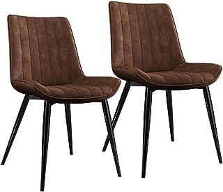 ZCXBHD Cuero PU Sillas de Comedor Conjunto Clásico Cocina Sillas mostrador Sala Sillas Esquina con Patas Metal Asiento y Respaldos for sillas Restaurante (Color : Brown, Size : 2pcs)