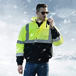 Extaum Sfvest High Visibility Reflective Cotton Coat Waterproof Rain Jacket Luminous Safety Outdoor Traffic Hiking Riding ...