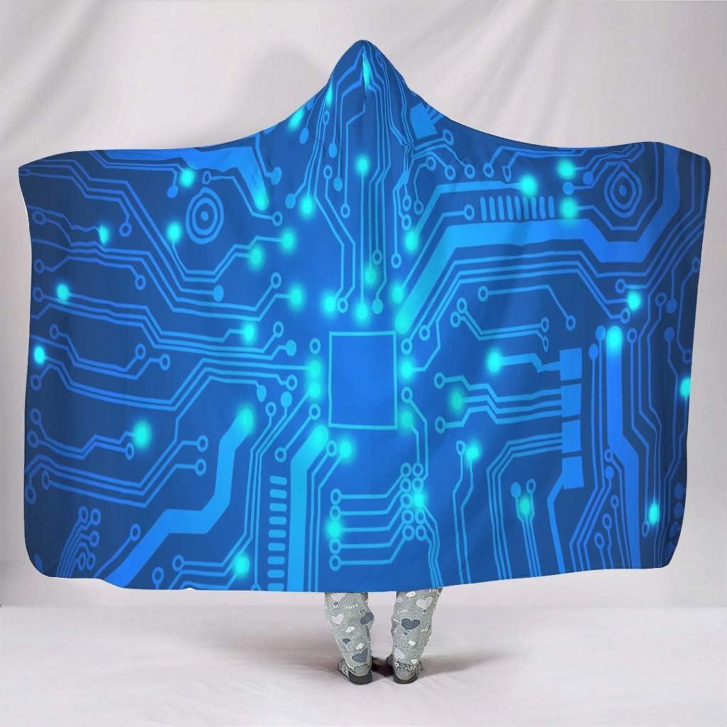 Rtisandu Hooded Blanket Printed Circuit Year-end gift C Board half Wearable