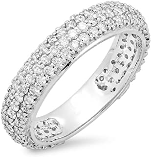Dazzlingrock Collection 1.30 Carat (ctw) 14K White Gold Round White Diamond Pave Set Anniversary Wedding Eternity Ring Band