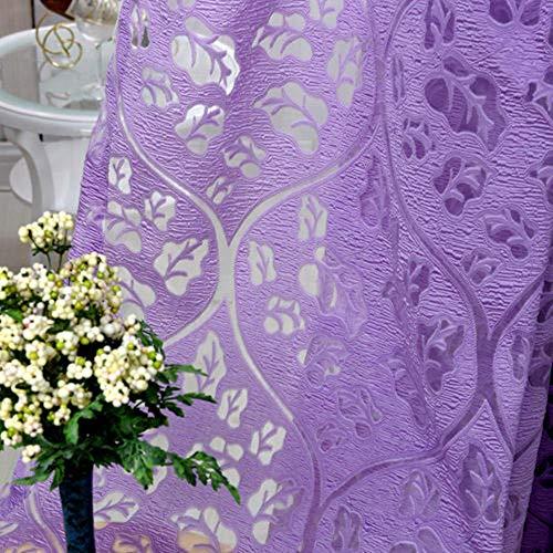 Ctobb Kleurrijke gordijnen met bloemenpatroon, voor raamgordijn, keukengordijnen, halfdonker, personaliseerbaar, violet, breedte 350 cm, lengte 270 cm