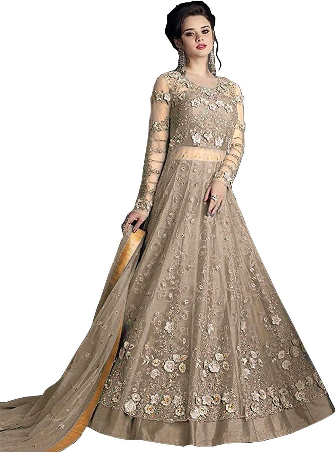 AMIT FASHIONS Exclusive Indian Designer Semi Stitch Salwar Suit for Women's Brown