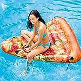 JSJE Fila Flotante de la Piscina de Pizza Inflable Gigante, Piscina de Rebanada Creativa flotando en Verano Adulto Piscina Engrosada Pizza de Pizza raft con Remolque