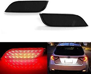 iJDMTOY Smoked Lens 26-SMD LED Bumper Reflector Lights for Subaru 2008-14 WRX/STI, 08-up Impreza, 13-up XV Crosstrek, Function as Rear Fog, Tail/Brake Lamps