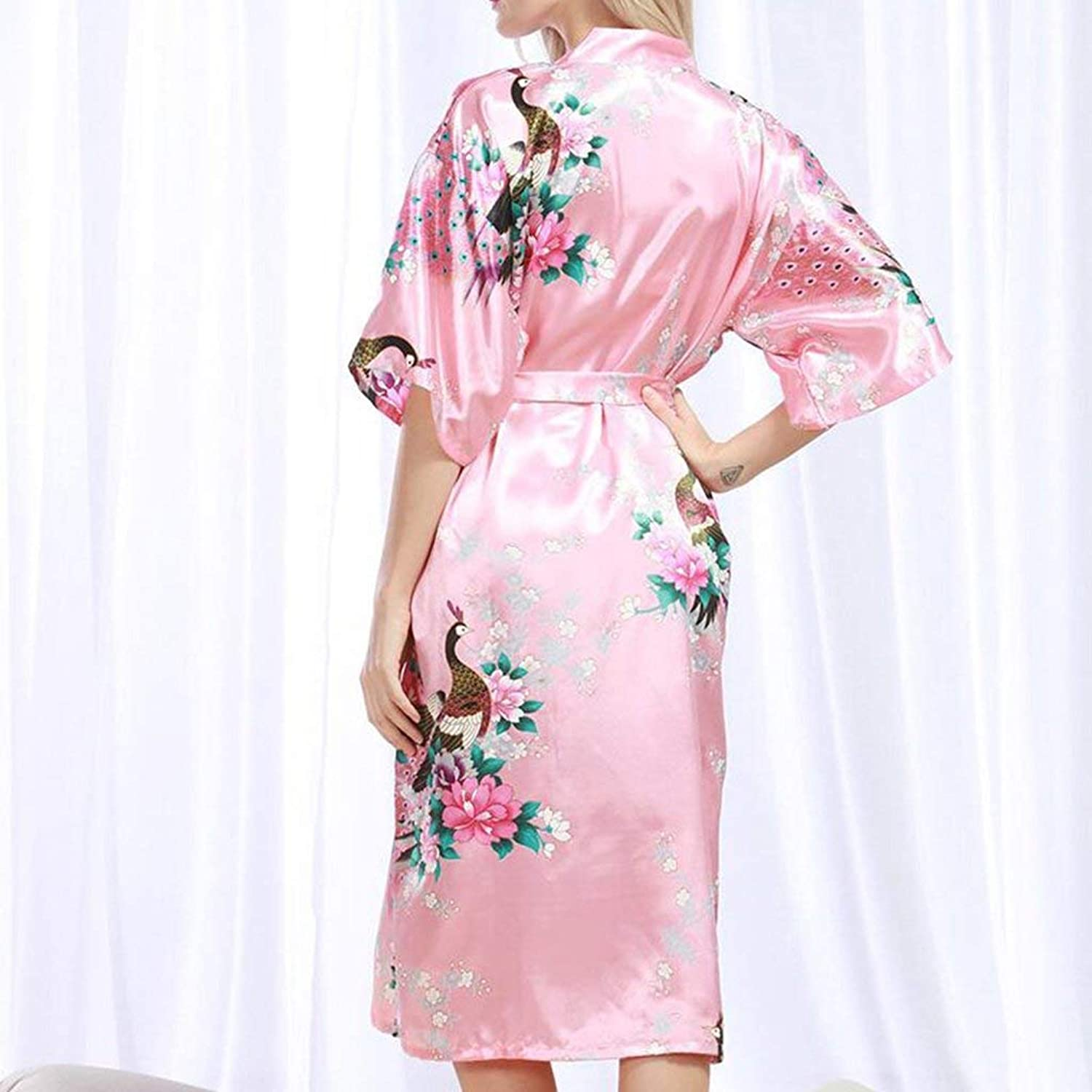 PLLP Comfortable Home Pajamas Shop Cotton with Pockets Bathrobe Pajamas Polyester Summer Female Can Be Worn Outside Short Sleeve Long Section Nightgown Bathrobes Bathrobe Loose Printing Nightdr