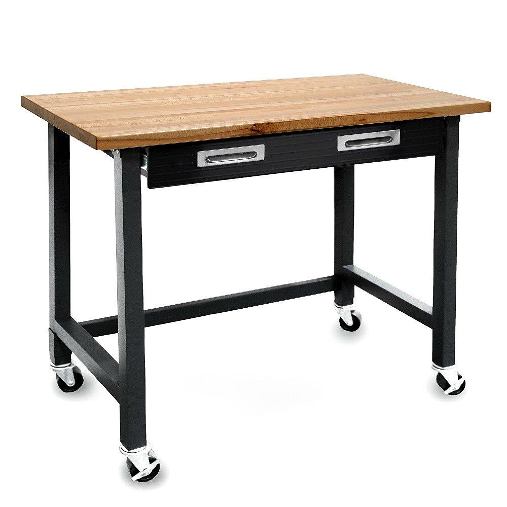 Wood Top Workbench On Wheels 48