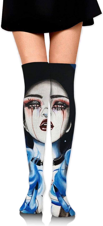 SWEET TANG Women Girl Over Knee Thigh High Socks Plus Size Tube Leg Warmers Stocking Cosplay Long Solid Leggings Sock (Ice Fire Goth Gotik Gothic Women Girl Art)