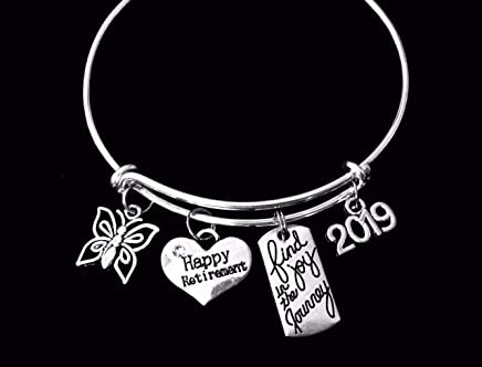 Happy Retirement Find Joy in the Journey Expandable Silver Charm Bracelet Adjustable Bangle Office Worker Gift Retire Co-worker One Size Fits All Jewelry Retirement Gift 2019