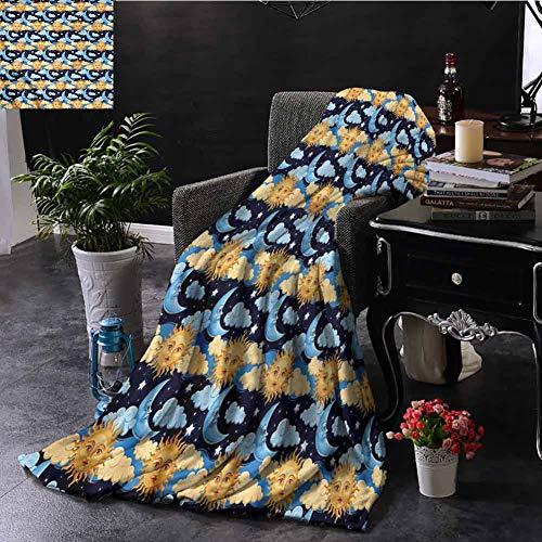 EDZEL Best Blankets Sun and Moon Colorful Night Sky Sofa Chair 93x70 Inch