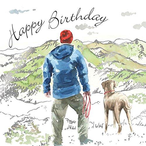 Twizler Happy Birthday Karte für Ihn mit grüner & silberner Folie und einzigartigem Aquarell-Effekt - Hundekarte - Wanderkarte - Männliche Geburtstagskarte - Männer Geburtstagskarte