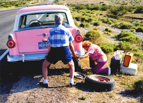 Old Couple Changing Tire Funny Anniversary Card