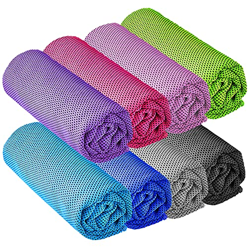 """YQXCC 8 Pcs Cooling Towel (47""""x12"""") Cool Cold Towel for Neck, Microfiber Ice Towel, Soft Breathable Chilly Towel for Yoga, Golf, Gym, Camping, Running, Workout & More Activities"""