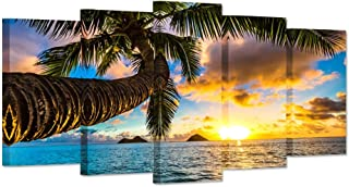 iHAPPYWALL 5 Panel Canvas Prints Wall Art Hawaii Tropical Beach with Palm Tree Sunset Landscape Picture Modern Painting on Canvas Stretched and Framed for Living Room Ready to Hang