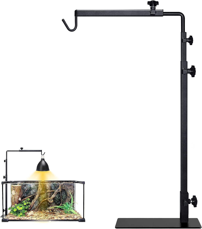 LISINAN Lamp Stand for Reptile Tank/ Black Metal Bracket Floor Light Holder Support/Aquarium Light Mount/Terrarium Light Fixture/Snake Tank Decor/Turtle Tank /Chameleon Accessories(L, 12.59