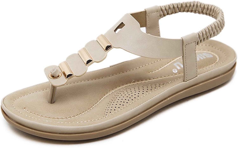AVENBER Women's Flat Sandal Metallic T-Strap Comfort Sole Ankle-Strap Non-Slip Thong Summer Beach Wear