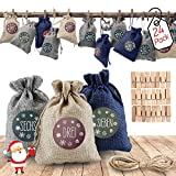 AODOOR 24 Adventskalender zum Befüllen, Weihnachten Geschenksäckchen Bastelset mit 1-24 Adventszahlen Aufkleber, Natur Säckchen,Stoffbeutel, Geschenksäckchen für DIY Handwerk Männer Kinder