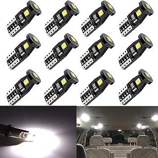 Anourney 12PCS T10 194 168 2825 W5W 3SMD LED Bulbs, 194...