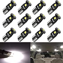 Anourney 12PCS T10 194 168 2825 W5W 3SMD LED Bulbs, 194 Led Bulbs 6000k White 3030 Chipsets Used for Dome Light, Map Light, Door Courtesy Light, License Plate Lights, Trunk Light