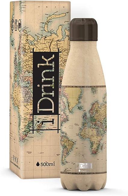 I-Drink Bouteille Double Paroi en Acier D/écor/ées 350 ML, Carte Thermique 500 ML