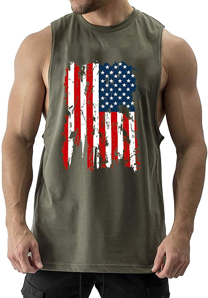 Cuifutang Mens Bodybuilding Cut Workout Tank Tops American Flag Muscle T-Shirt