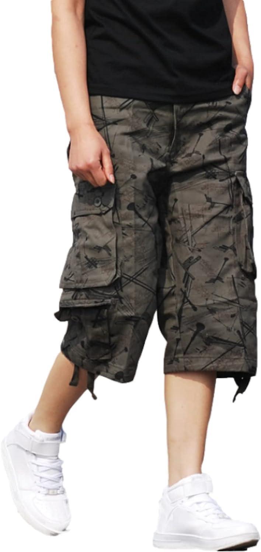 Katenyl Men's Stitching Multi-Pocket Cargo Shorts Fashion Streetwear Loose Straight
