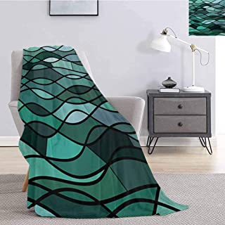 jecycleus Teal Comfortable Large Blanket Abstract Mosaic Waves Ocean Inspired Expressionist Pattern Marine Design Image Microfiber Blanket Bed Sofa or Travel W57 by L74 Inch Dark Green Aqua