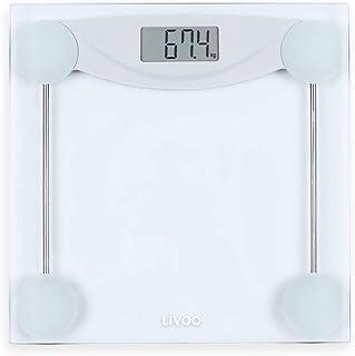 Báscula digital de cristal – Báscula corporal digital blanca – Peso hasta 180 kg – Apagado automático – Báscula digital 100 g pasos – Indicador de batería baja
