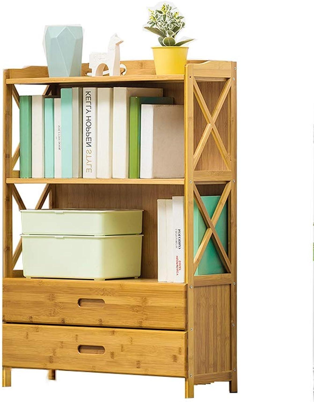 FLYSXP Solid Wood Bookshelf Simple Three-Tier Floor-Standing Medium Drawer Bookcase Books Sundries Storage Cabinet Display Cabinet 97x70x25cm Bookcase
