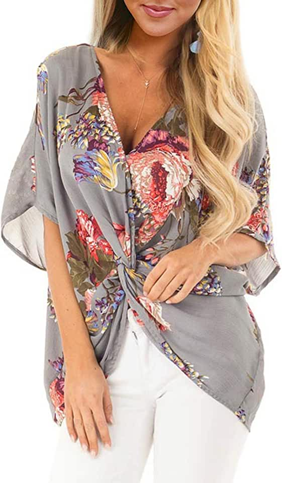 HUUSA Womens Floral Chiffon Tops Summer Casual Short Sleeve V Neck Fashion Twist Front Blouse Shirts