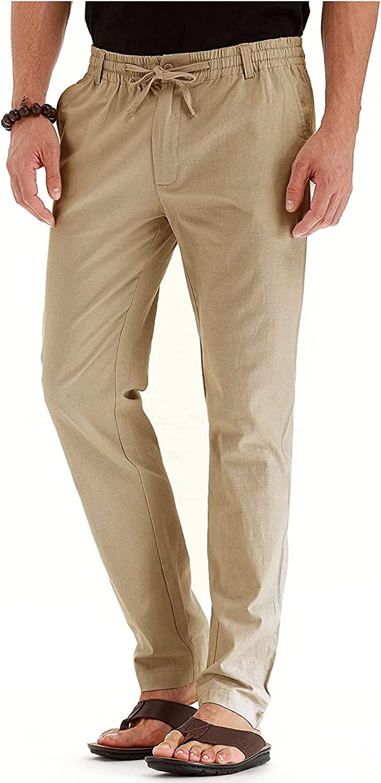 SADWF Men's Drawstring Casual Beach Breathable Loose Trousers Li