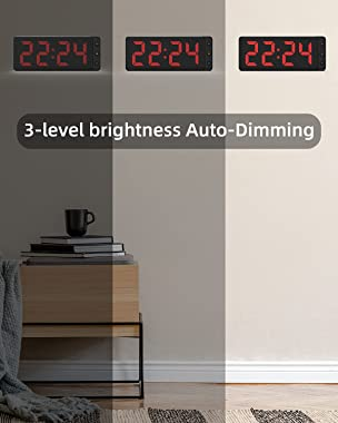 LED Digital Wall Clock with Large Display, Big Digits, Auto-Dimming, 12/24Hr Format, Battery Backup, Silent Wall Clock for Fa