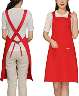 Painting Apron Cross Back with 2 Pockets Cotton for Kids,Adult,Butcher Fits for Grill,bbq,Paint Cross Back Red