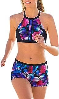 URIBAKE Women 2 Pieces Rashguard Swimwear Beach Cover Ups Printed Sexy Bikini Swimsuit Bathing Suit