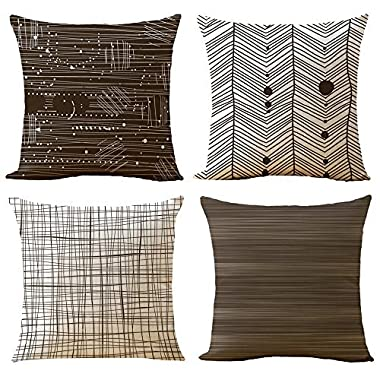 WOMHOPE 4 Pcs - 16.5  Brown & Olive & Tan Geometric Stripe Printing Cotton Linen Throw Covers Throw Pillow Covers Square Cushion Covers Pillowcase for Couch,Sofa (E) Set of 4 pcs
