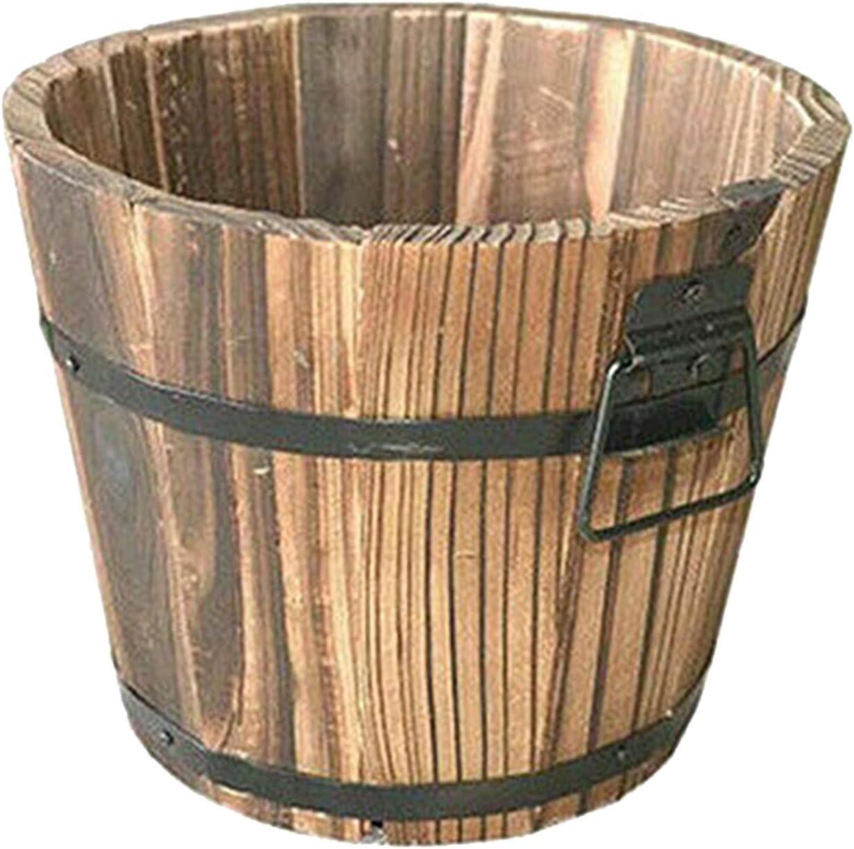 Cheap HANTURE Wooden Planter Barrel Set Rustic with famous of Handle 3